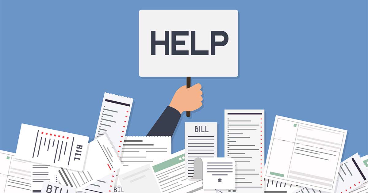 Vector of bills and hand holding up a 'help' sign, NDIS Plan Manager can help NDIS participants pay bills and invoices